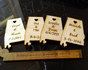 100 Alabama State Wedding Favors Custom Engraved