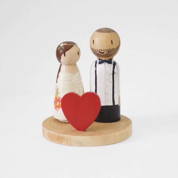 Modern Hand Painted Custom Wedding Cake Topper/Decoration Piece Made to Order in 4 Weeks