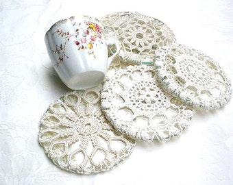 Shabby chic coasters, Crochet  Lace Cup Coasters , Table home decor, Country French  crochet ornament, Holiday decor, Antique lace