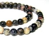 Silver Leaf Jasper beads, 6mm round gemstone, multicolor, HALF strand (572S)