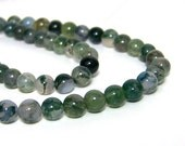 Moss Agate beads, 6mm round natural green gemstone, full & half strands available  (659S)