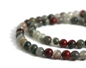 African bloodstone 6mm round natural gemstone beads, Full & half strands   (713S)