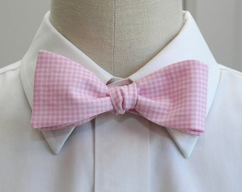 Men's Bow Tie in pink and white mini gingham (self-tie)