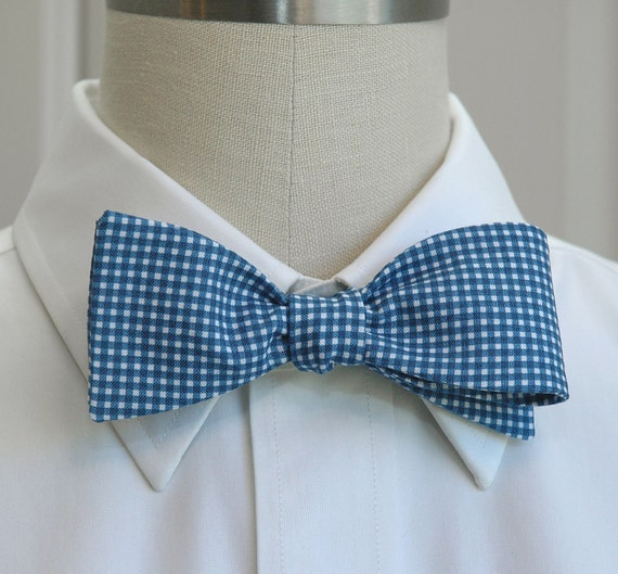 s bow tie in navy mini gingham self tie