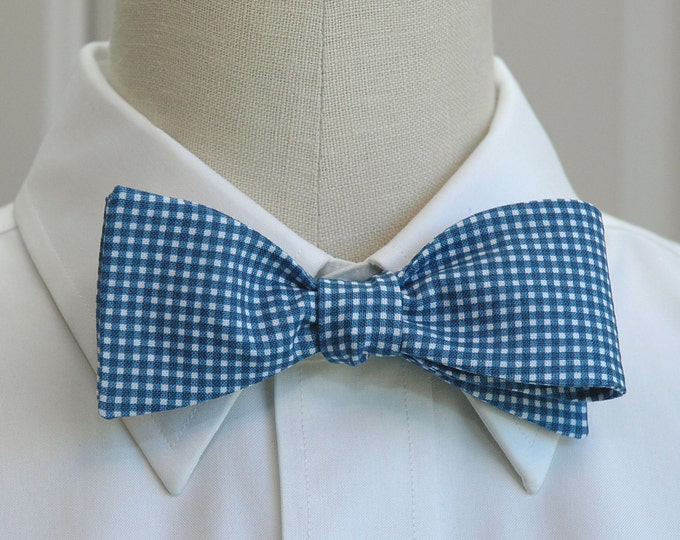 Men's Bow Tie, navy mini gingham, French navy bow tie, wedding bow tie, groom bow tie, groomsmen gift, classic bowtie, blue gingham bow tie