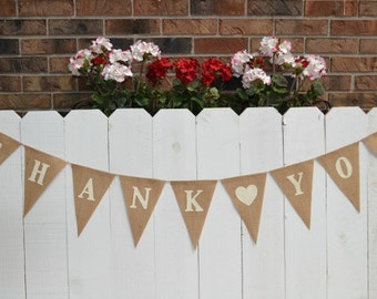 Thank You Banner , Wedding Banner , Thank You Photo Prop , Rustic Wedding , Gifts Table Decor