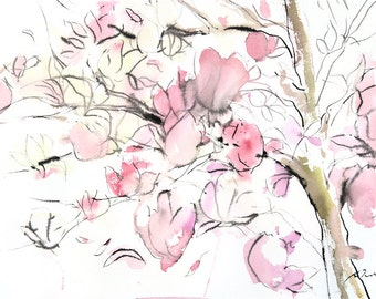 Sumie No.14 Magnolia, original painting, sumi ink and watercolor