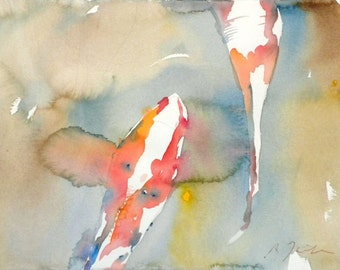 Koi Fish No.7, limited edition of 50 fine art giclee prints from my original watercolor