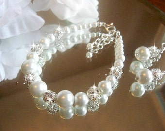 Swarovski Rhinestone and Pearl Bracelet and Earring Set - Brides or Bridesmaid Jewelry Set/Bridal Jewelry/Wedding Jewelry