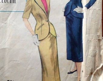 50s Simplicity 8207 Suit Jacket and Slim Jacket Size 12 Bust 30