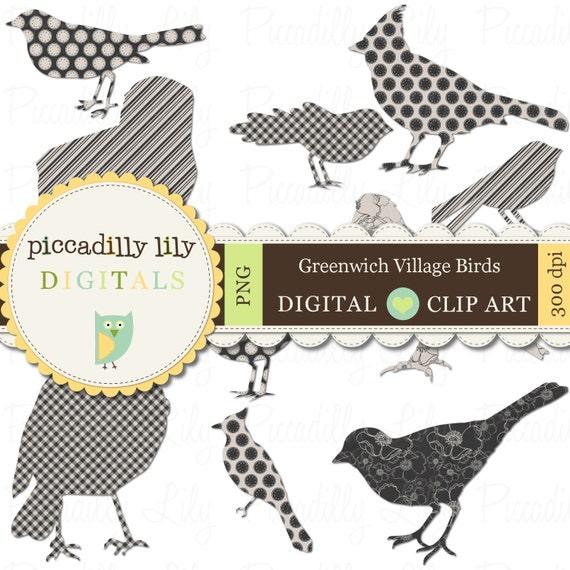 Instant Download - Greenwich Village Birds -- Digital Printable Shapes Clip Art Black Ecru