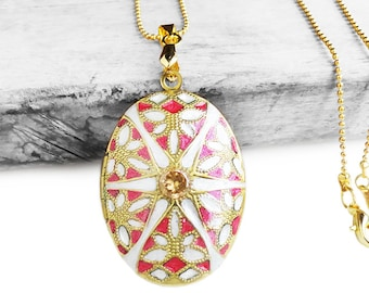 Get 15% OFF -Handpainted Vintage Brass Oval Photo Locket Pendant Necklace - Labor Day SALE 2017