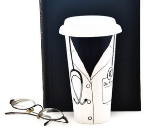 Doctor Coat Mug with Name - Personalized Travel Mug - Custom Ceramic Office Mug with Lid - Hand Painted Eco Cup