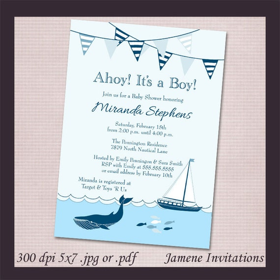 Nautical sailboat boy baby shower digital download invitation - Print your own