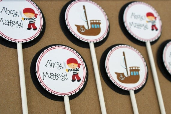 Pirate Cupcake Toppers - Boy's Pirate Birthday Party, Ahoy Matey, Pirate Ship, Red and Black