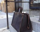 Verdi weekender, handmade leather bag, large travel bag, handmade leather travel bags, duffles & weekenders by Aixa Sobin, bag maker in NYC