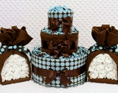Baby Diaper Cakes & Stork Bundles Blue and Chocolate Brown Baby Shower Centerpiece Sets