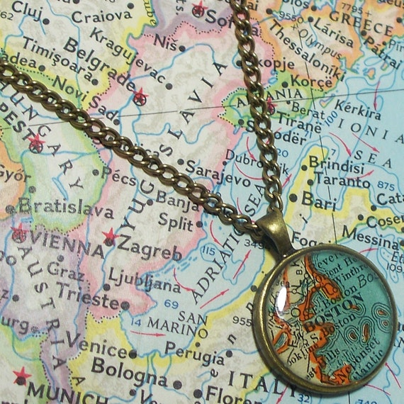 Boston, Massachusetts 1939 Map Necklace. Map Pendant. Map Jewelry.