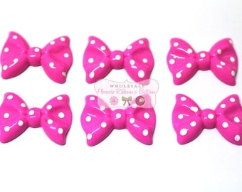 Hot Pink with White Polka Dots Bow Cabochons 37 X 28 mm - Wholesale Headband Supplies - Embellishments - Set of 6