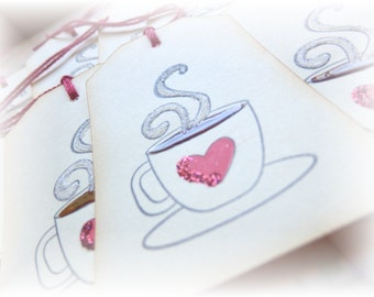 Heart Cup Coffee Tags (6)