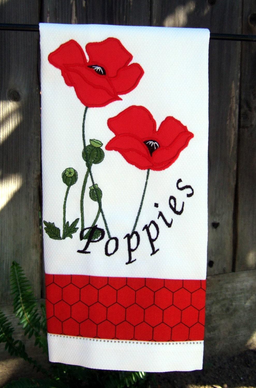 Poppy Kitchen Kitchen Towel Red Poppies . Poppy Kitchen ...