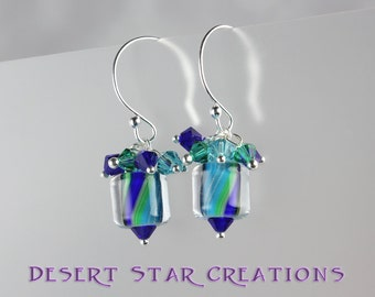 Turquoise Blue Green Cane Glass Earrings, Cluster Earrings, Swarovski Crystal Furnace Glass Drop Earrings