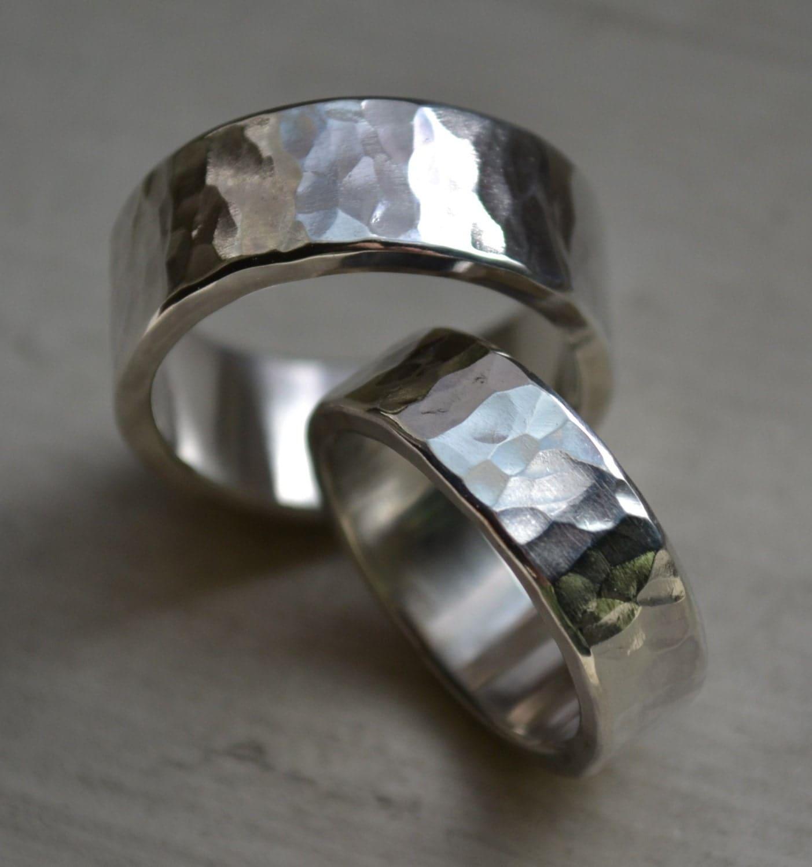 hammered silver wedding band set high polish finish