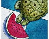 Greeting Card with Turtle and Melon