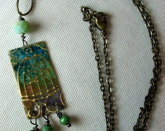 Hand Embossed Mixed Metal Birdcage Necklace