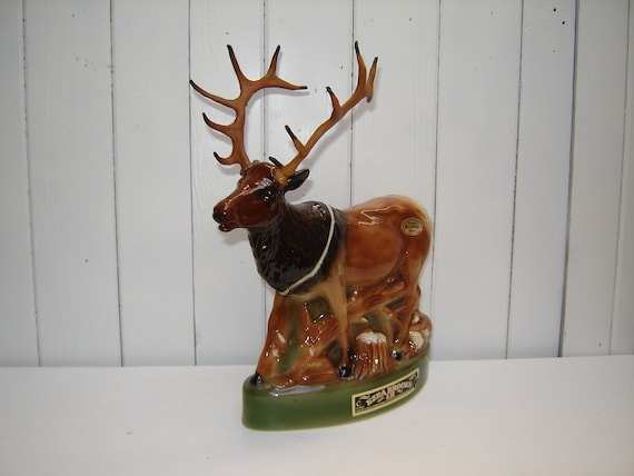 Vintage Elk Decanter Buck With Antlers Ezra Brooks Genuine
