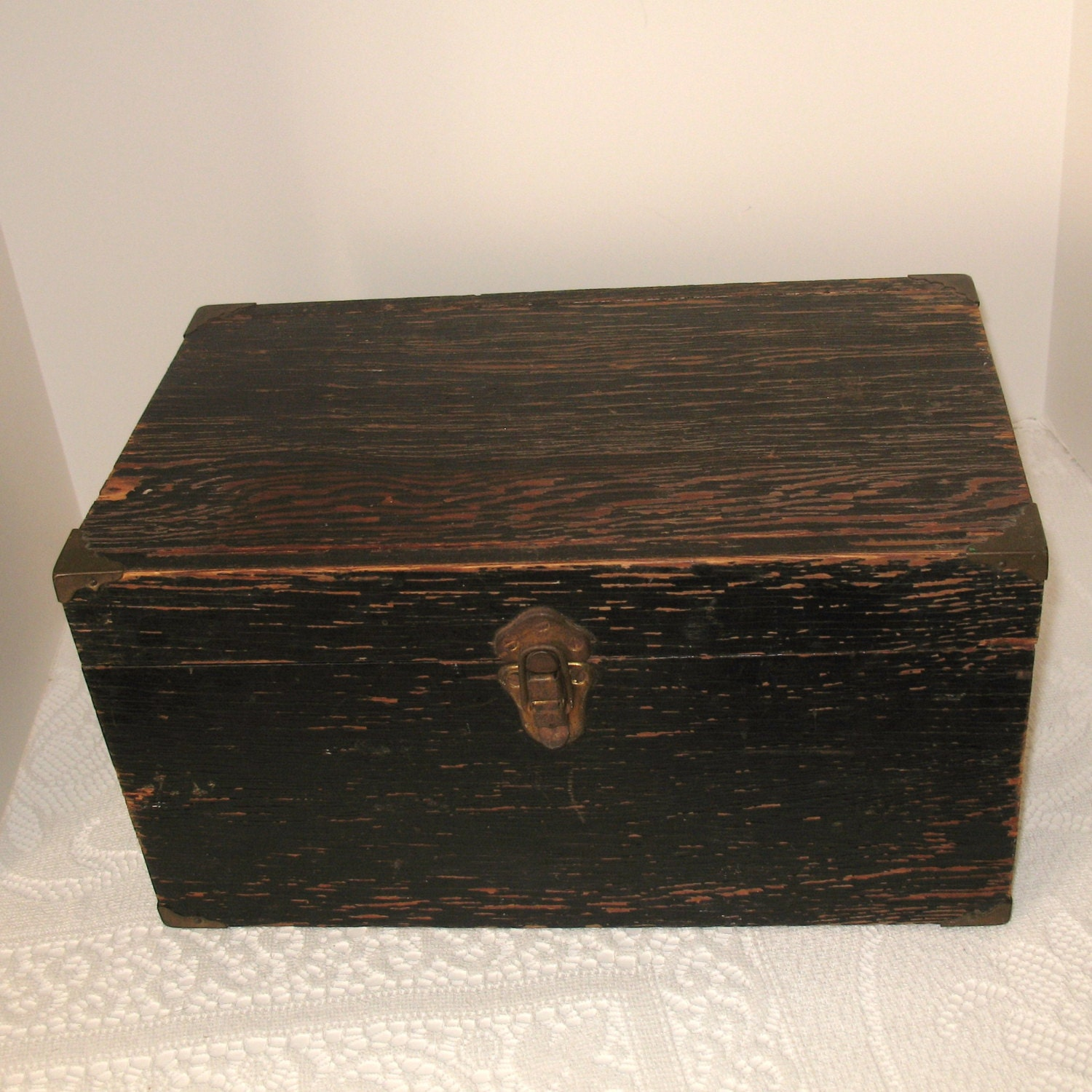 vintage wooden box old black tool fishing box