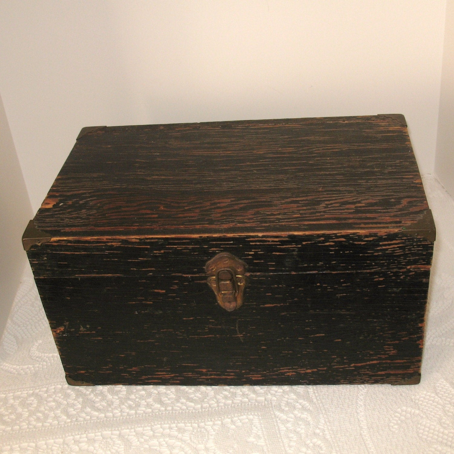 Vintage wooden box old black tool fishing box for What to do with old mailbox