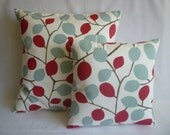 "BIG and Small PAIR Pillow Covers Red Duck Bue Designer Cushions Throw Scatter Pillows 22""  and 16"""