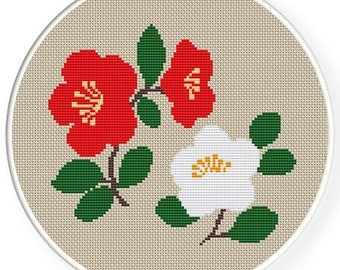 Instant download,free shipping,Cross stitch pattern, PDF,Red and white camellias,ZXXC0345
