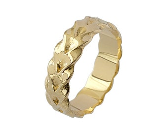 Vintage Braid Smooth Wedding Band in Yellow Gold