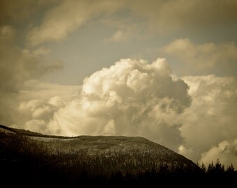 Muted Mountains and Cloud Formation Photographic Art Print, Wall Art for Home decor, 12 Sizes Available from Prints to Mounted Canvas
