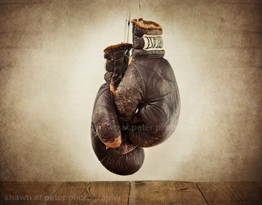 vintage boxing gloves photo print fathers day gifts wall. Black Bedroom Furniture Sets. Home Design Ideas