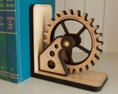 Gear Bookend Wood Gear Office Organizer Personalized
