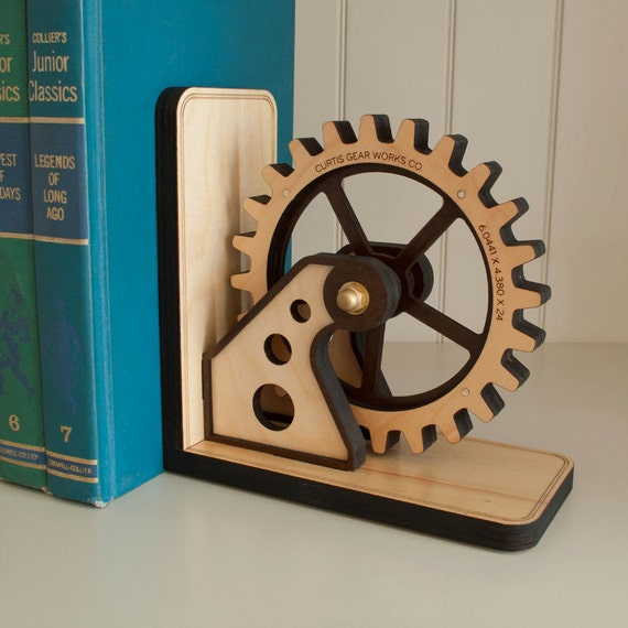 Gear Bookend Wood Gear Office Organizer Personalized