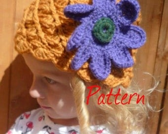 Flower Pot hat  PDF Crochet pattern UK terminology
