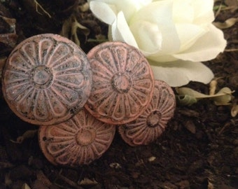 Drawer Pulls/ Pink Drawer Knobs/ Pale Pink Shabby Chic Knobs/ Rustic Drawer Pulls - Set of 4 knobs