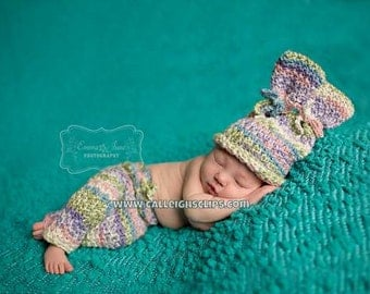 Instant Download Crochet Pattern- No. 91 Textured Bunny Hat and Bottoms - Size Newborn - 4T