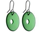 Concave Disc Recycled Glass Earrings