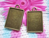 10pcs 25x18mm antiqued bronze plated rectangle bezel pendant blanks