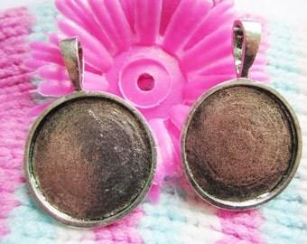 10pcs  27mm tibetan silver  round bezel pendant blanks