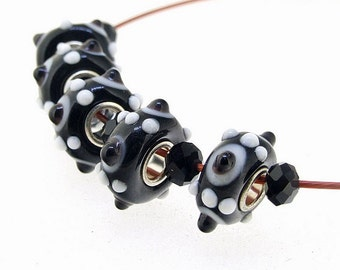 Hole 3mm 5Beads Black Dot  Lampwork bead  White  Air bubble Handmade jewelry designs  European Style