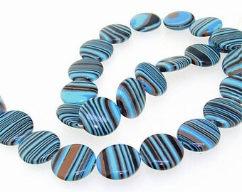16mm Coin Blue Black  Malachite jasper Malachite Jasper Gemstone Beads Full Strand 15""