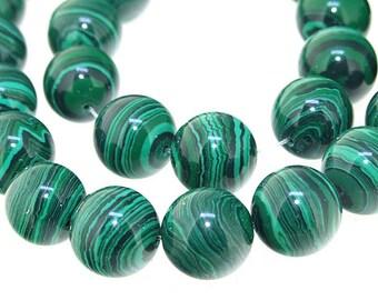 "14mm Round Green  Malachite jasper   Malachite Jasper Gemstone Beads Full Strand 15"""