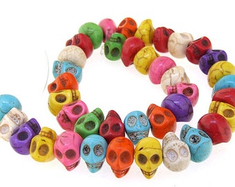 Carved Skull Mixcolor Turquoise Gemstone Beads 39Beads 10mm x13mm One Strand