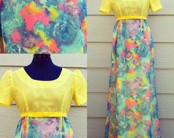Vintage 60s Spring Gown Maxi Dress Neon Pastel Colors S M